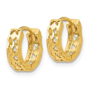14k Cut-out Design Hinged Hoop Earrings