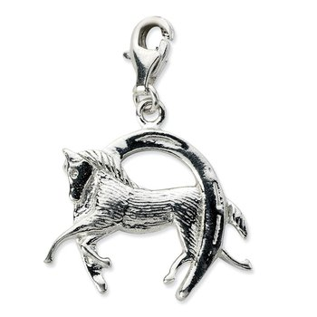 Sterling Silver Amore La Vita Rhodium-pl Polished Horse and Shoe Charm