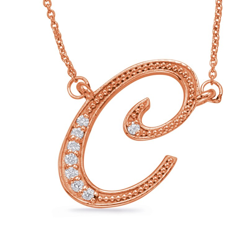 S. Kashi  & Sons Rose Gold Diamond Initial C Pendant