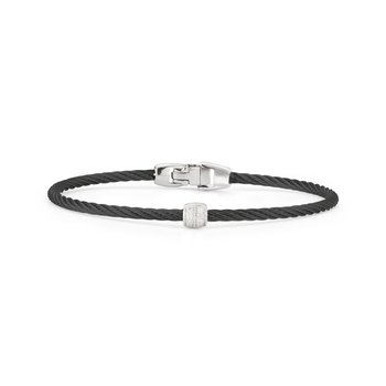 Black Cable Single Station Stackable Bracelet with 18kt White Gold & Diamonds