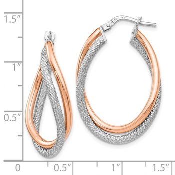 Leslie's Sterling Silver Rose-tone Textured Hoop Earrings