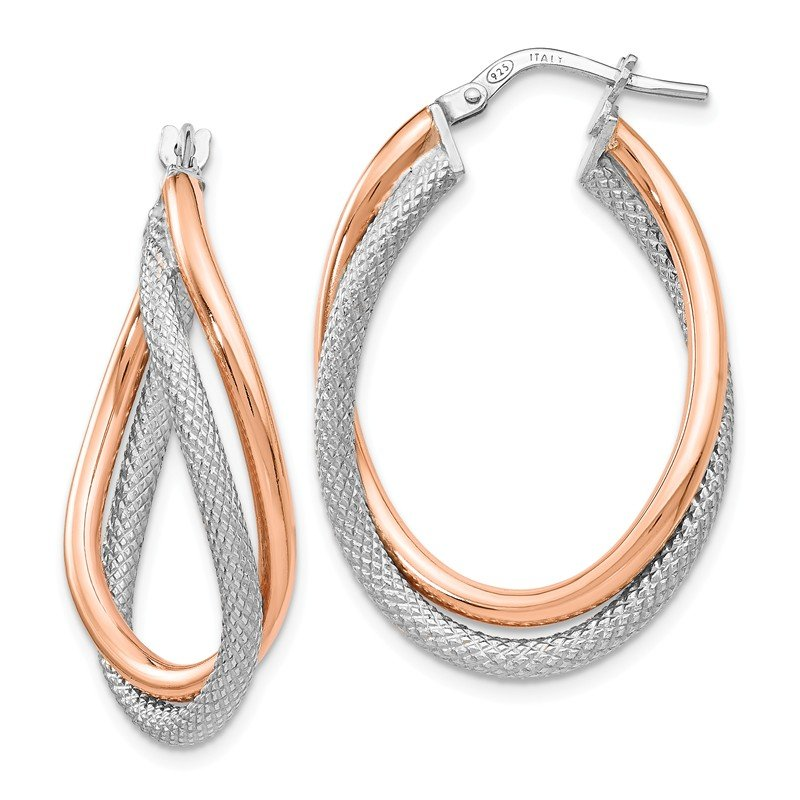 Leslie's Leslie's Sterling Silver Rose-tone Textured Hoop Earrings