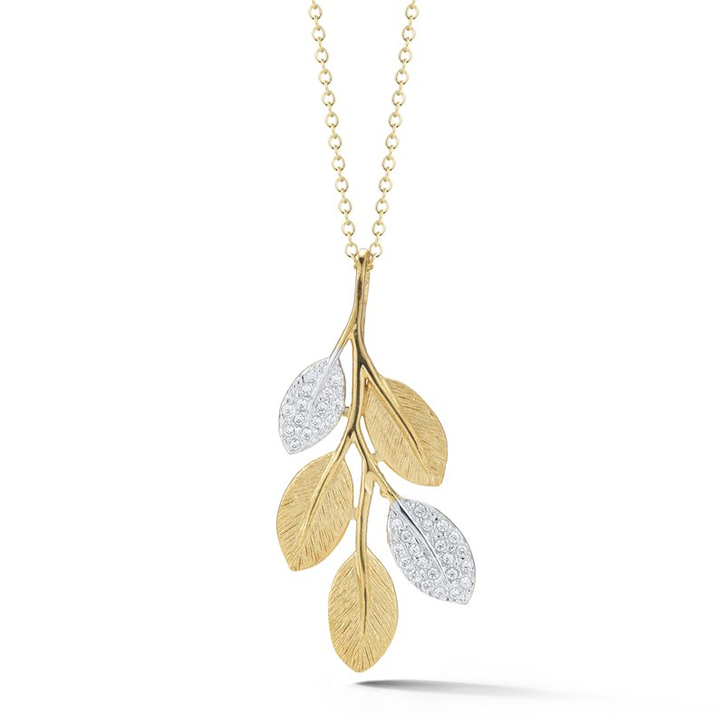 I. Reiss 14K-Y LEAF PEND., 0.25CT