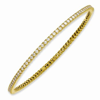 Sterling Silver Yellow-plated 93 Stone CZ Bangle