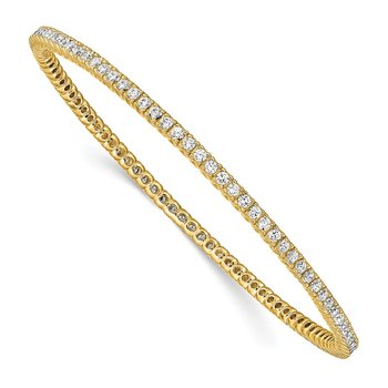 Sterling Silver Gold-tone 93 Stone CZ Bangle
