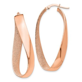 14K Rose Gold-PLATED Satin & Polished Twisted Hoop Earrings