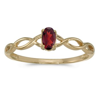 10k Yellow Gold Oval Garnet Ring