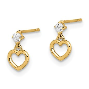 14k Madi K CZ Heart Dangle Post Earrings