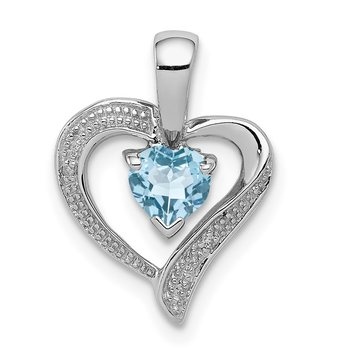 Sterling Silver Rhodium Plated Diamond & Lt Swiss BT Heart Pendant