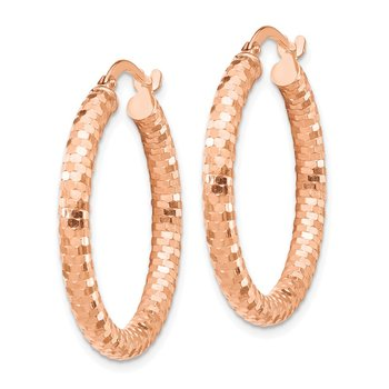 14k Rose Gold 3x20mm Diamond-cut Hoop Earrings