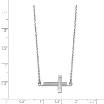 14k White Gold Sideways Cut-out Cross Necklace