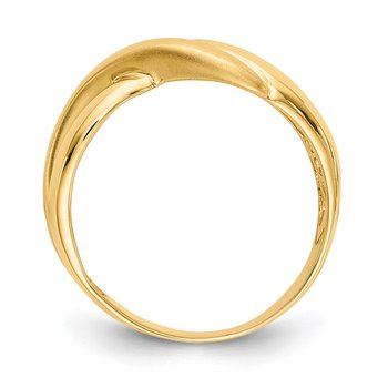 14K Polished & Satin Swirl Cross-over Dome Ring