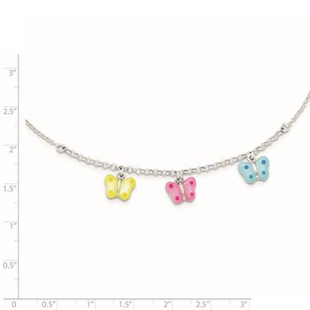 Sterling Silver Polished Enamel Butterfly Childs Necklace