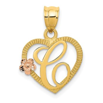 14k Two-Tone Heart Letter C Initial Pendant