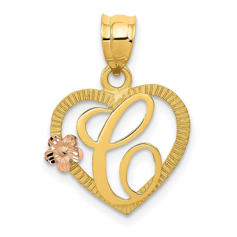 Quality Gold 14k Two-Tone Heart Letter C Initial Pendant
