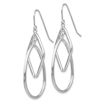 14k White Gold 2 Tier Dangle Wire Earrings
