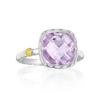 Cushion Gem Ring with Rose Amethyst