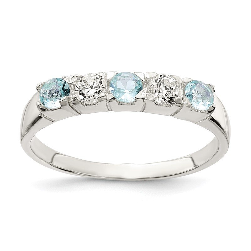 Lester Martin Online Collection Sterling Silver Light Blue & White CZ Ring