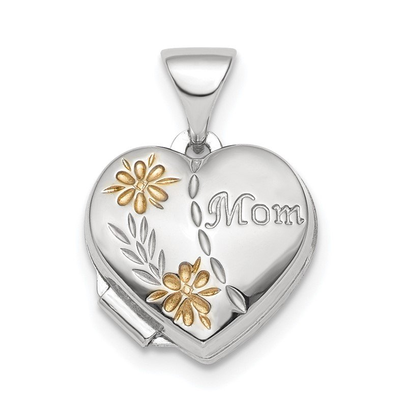 Quality Gold Sterling Silver Rhodium-plated & Gold-tone Floral Mom Heart Locket