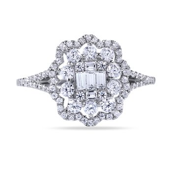 14K Art Deco Diamond Ring with 80 Round Diamonds 0.62C T.W. & 5 Baguette Diamonds 0.13C T.W.