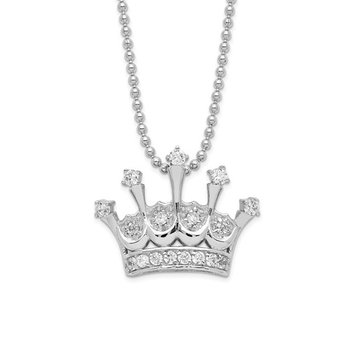 Cheryl M Sterling Silver Rhodium Plated CZ Crown 18in Necklace