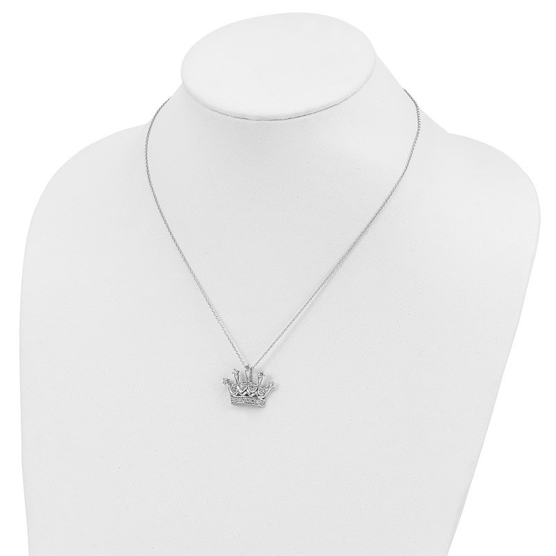 Cheryl M Cheryl M Sterling Silver Rhodium Plated CZ Crown 18in Necklace