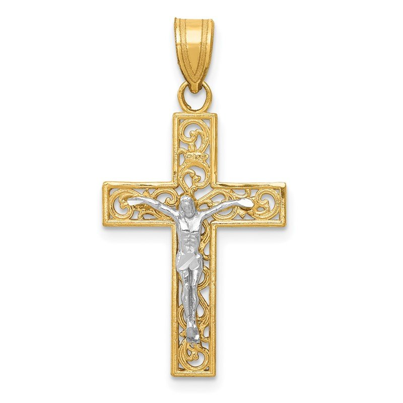 Quality Gold 14K Two-Tone D/C Small Block Filigree Crucifix Pendant