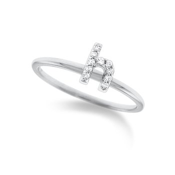 "Diamond Typewriter Initial ""H"" Ring"