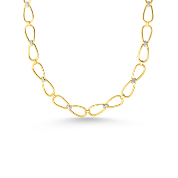 "18K STIRRUP 30"" LONG CHAIN W. DIA ACCENT"
