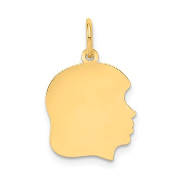 14k Plain Medium .035 Gauge Facing Right Engravable Girl Head Charm