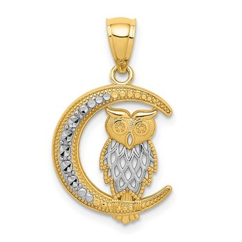 14K White Rhodium D/C Owl on the Moon Pendant