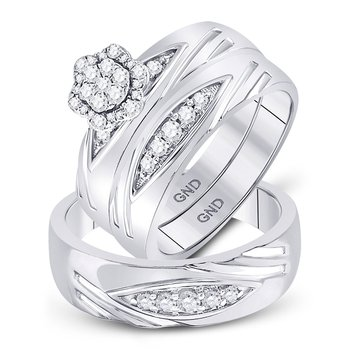 10kt White Gold His & Hers Round Diamond Cluster Matching Bridal Wedding Ring Band Set 1/2 Cttw