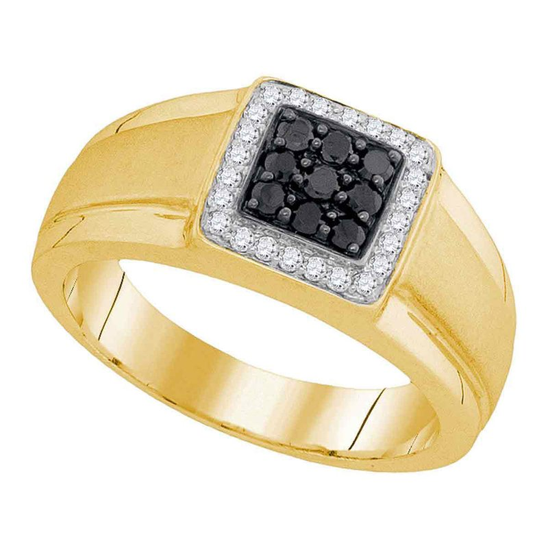 Kingdom Treasures 10kt Yellow Gold Mens Round Black Color Enhanced Diamond Square Cluster Ring 3/8 Cttw
