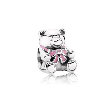 """It's A Girl"" Teddy Bear Charm, Pink Enamel"