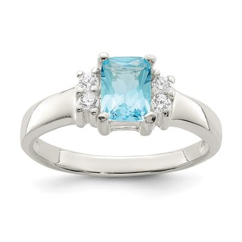 Sterling Silver Light Blue & White CZ Ring