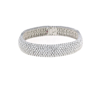 18Kt Gold 7 Row Flex Bracelet With Diamonds