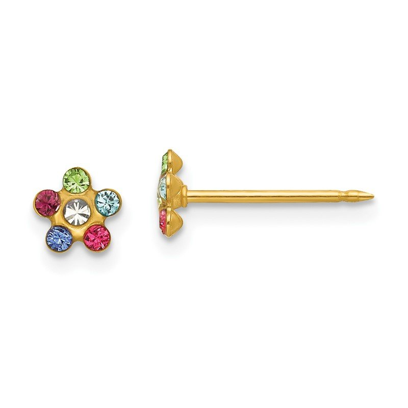 Quality Gold Inverness 14k Flower Multicolor Crystal Earrings