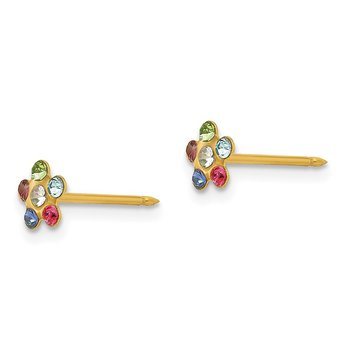 Inverness 14k Flower Multicolor Crystal Earrings