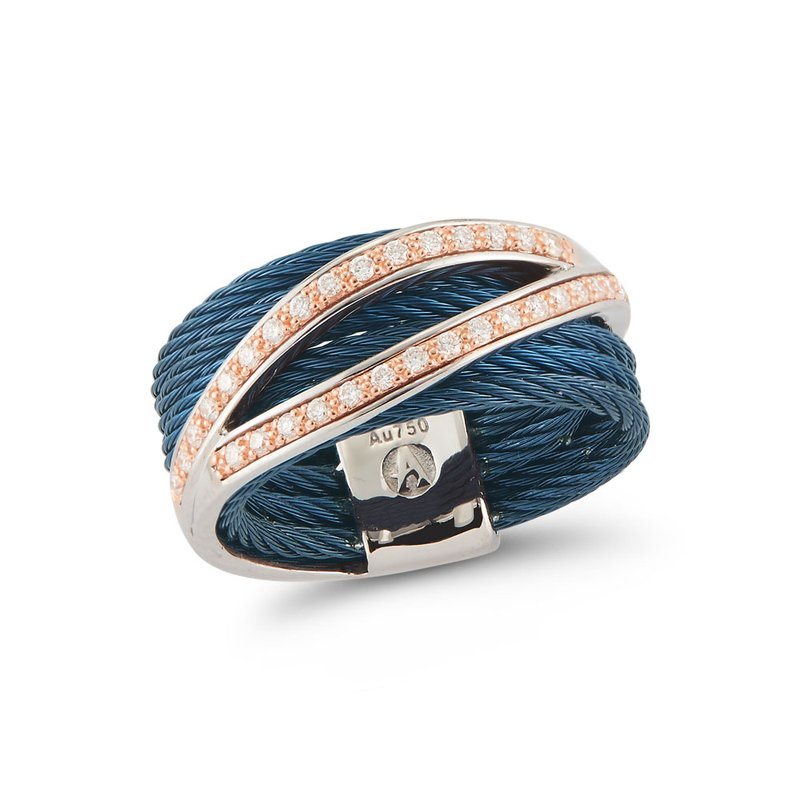 ALOR Catalog Blueberry Cable Divided Ring with 18kt Rose Gold & Diamonds