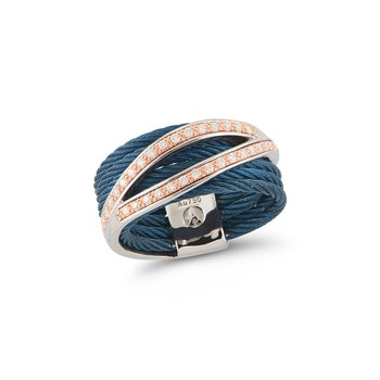 Blueberry Cable Divided Ring with 18kt Rose Gold & Diamonds