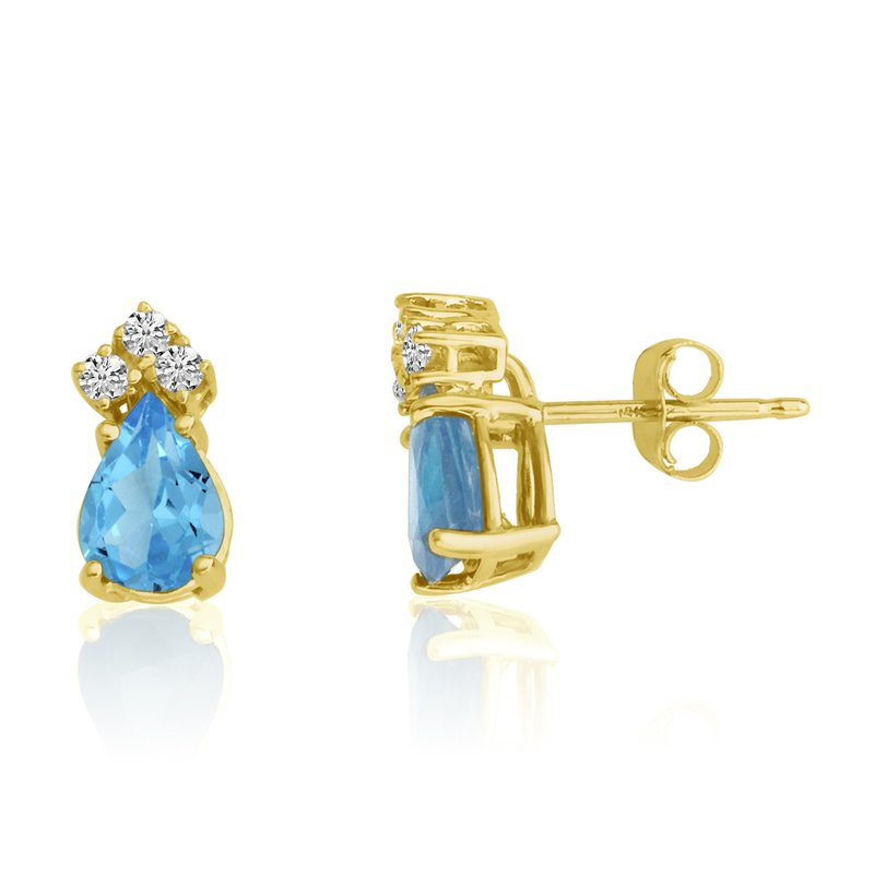 Color Merchants 14k Yellow Gold 7X5 Pear Blue Topaz and Diamond Earrings