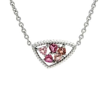 STERLING SILVER PINK TOURMALINE NECKLACE
