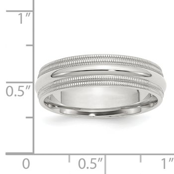 SS 6mm Comfort Fit Double Milgrain Size 10 Band