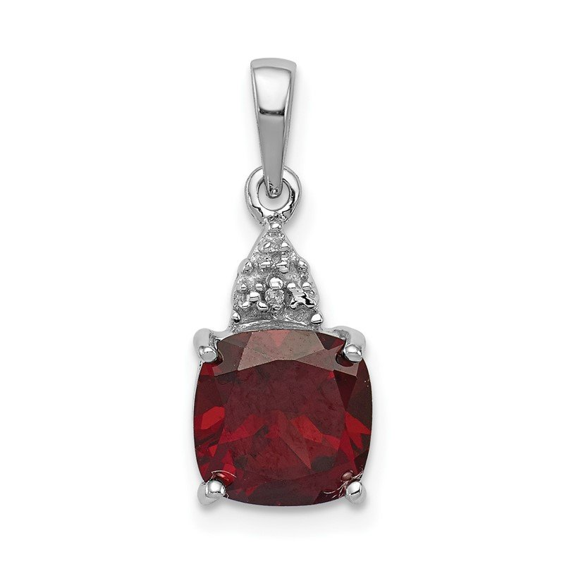 Quality Gold Sterling Silver Rhodium Garnet & Diamond Pendant