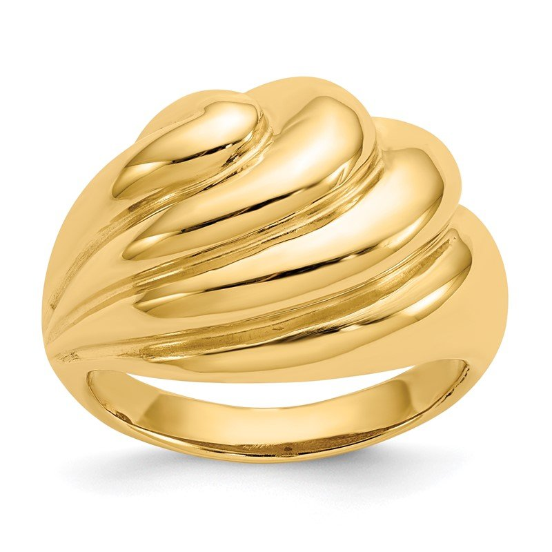 Quality Gold 14k Polished Swirl Dome Ring