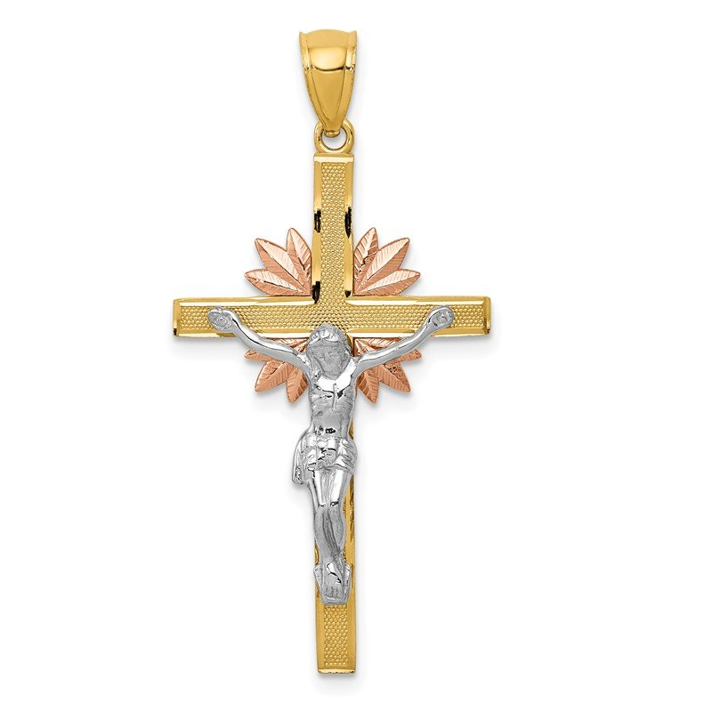 Quality Gold 14k Tri-color Crucifix Pendant