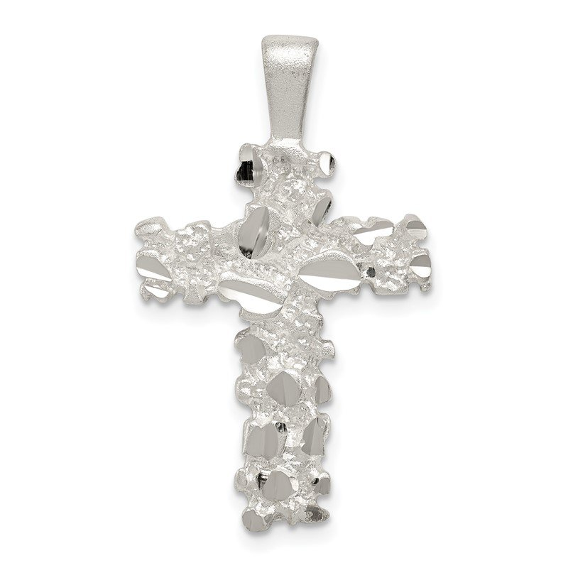 Quality Gold Sterling Silver Satin Finish Diamond-cut Cross Pendant