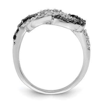Sterling Silver Rhodium Black and Clear CZ Love Knot Ring
