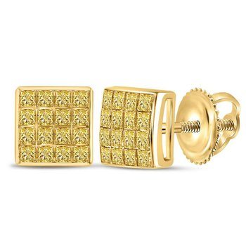 10kt Yellow Gold Womens Princess Yellow Color Enhanced Diamond Square Cluster Earrings 3/8 Cttw