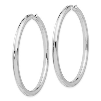 Leslie's Sterling Silver Rhodium-plated 3.5mm Tube Earrings